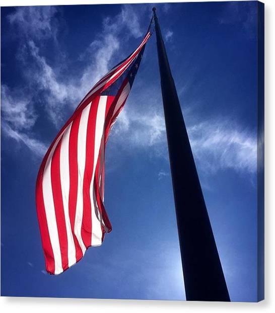 Flags Canvas Print - American Flag At Rick Case Honda Weston by Juan Silva