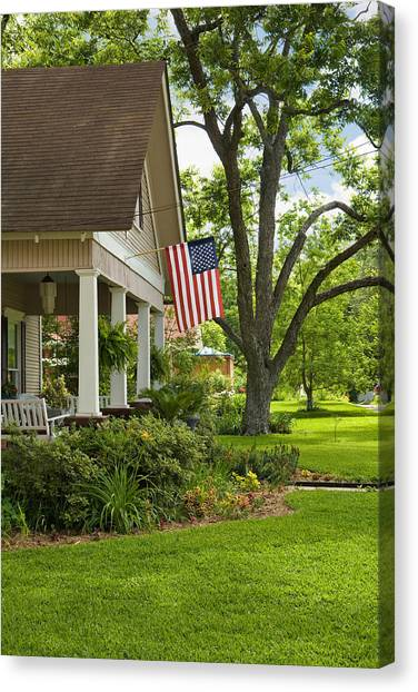 Mls Canvas Print - American Flag In Front Of Old Tree Lined Home  by Scott Hales