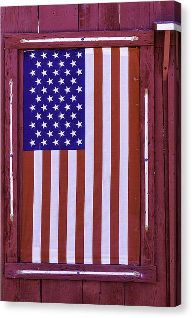 Gay Flag Canvas Print - American Flag In Red Window by Garry Gay