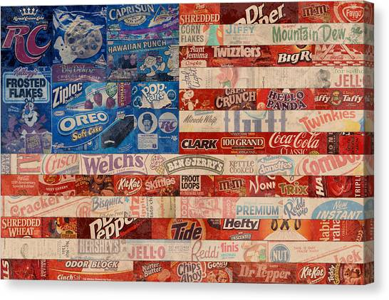 Flag Canvas Print - American Flag - Made From Vintage Recycled Pop Culture Usa Paper Product Wrappers by Design Turnpike