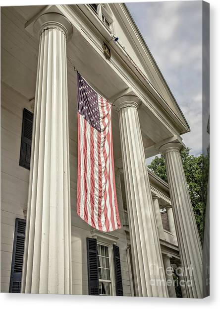 Lake Geneva Canvas Print - American Flag On Period House by Edward Fielding