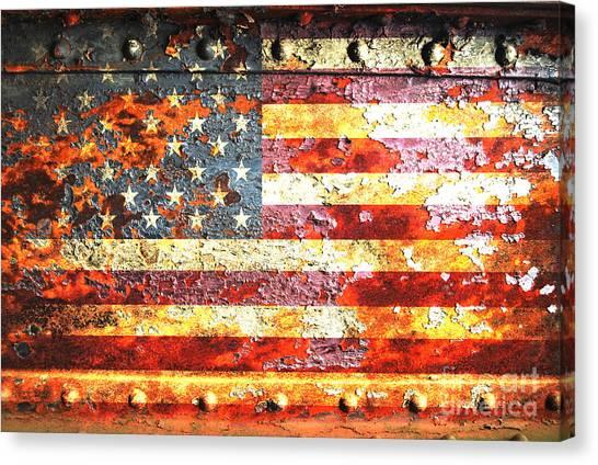American Flag On Rusted Riveted Metal Door Canvas Print