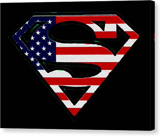 American Flag Superman Shield Canvas Print