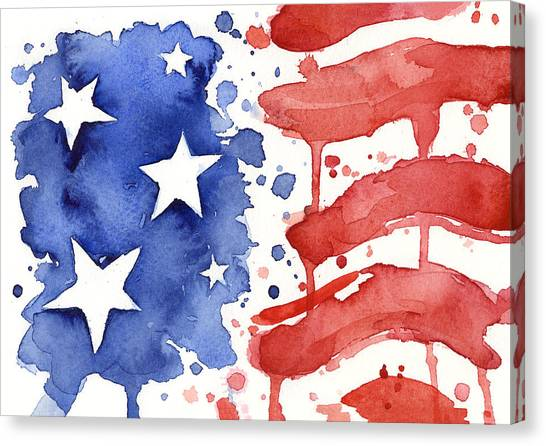United States Of America Canvas Print - American Flag Watercolor Painting by Olga Shvartsur