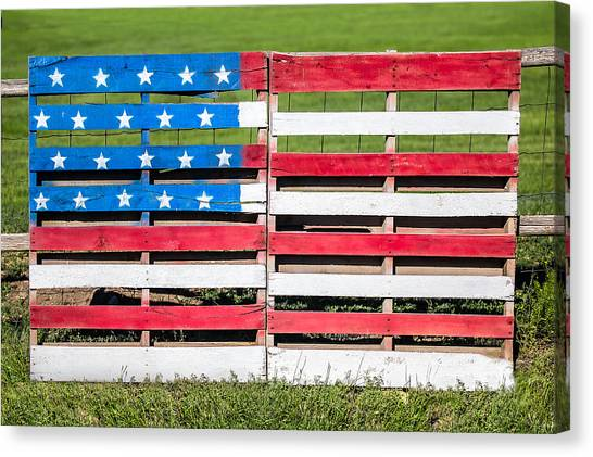 American Flag Canvas Print - American Folk Art by Todd Klassy