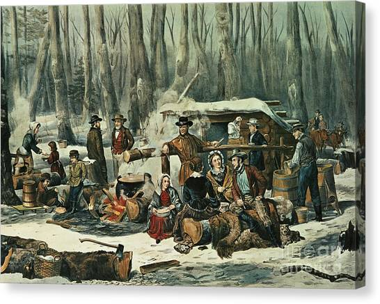 Axes Canvas Print - American Forest Scene by Currier and Ives