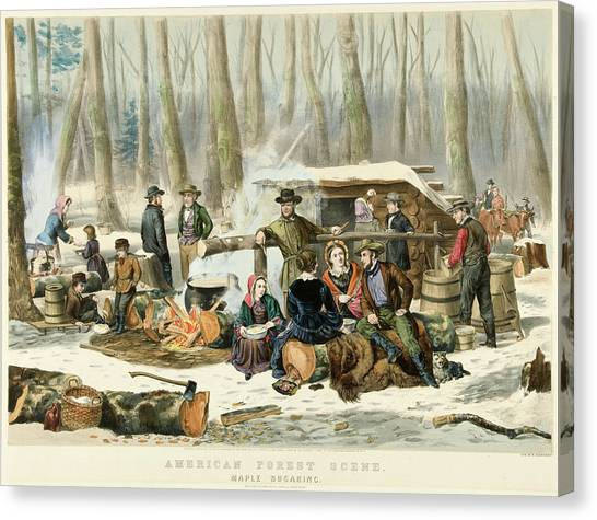 Woodsmen Canvas Print - American Forest Scene Maple Sugaring by Currier and Ives