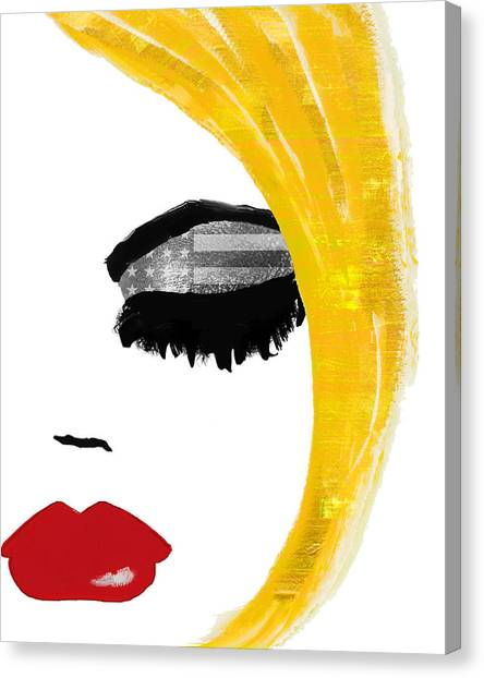 Red Lipstick Canvas Print - American Girl by Mindy Sommers