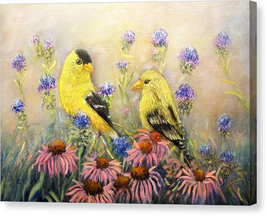American Goldfinch Pair Canvas Print