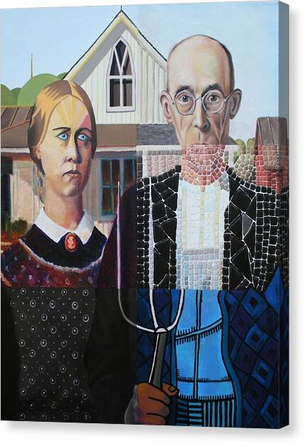 American Gothic After Grant Wood In Six Styles Canvas Print
