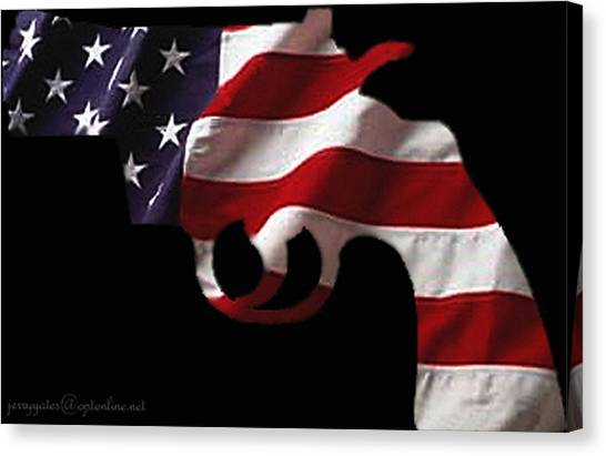 Flag Canvas Print - American Gun by Gerard Yates