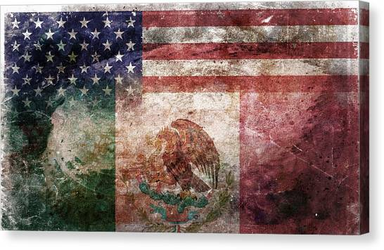 Independence Day Canvas Print - American Mexican Tattered Flag  by Az Jackson