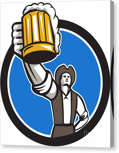 Craft Beer Canvas Print - American Patriot Craft Beer Mug Toasting Circle Retro by Aloysius Patrimonio