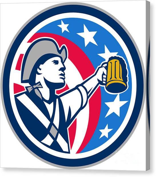 Craft Beer Canvas Print - American Patriot Craft Beer Mug Usa Flag Circle Retro by Aloysius Patrimonio
