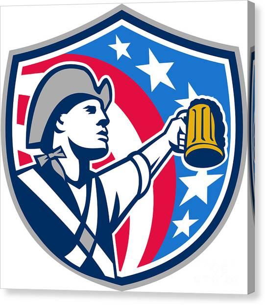Craft Beer Canvas Print - American Patriot Craft Beer Mug Usa Flag Crest Retro by Aloysius Patrimonio