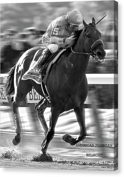 Johnny Carson Canvas Print - American Pharoah And Victor Espinoza Win The 2015 Belmont Stakes by Thomas Pollart