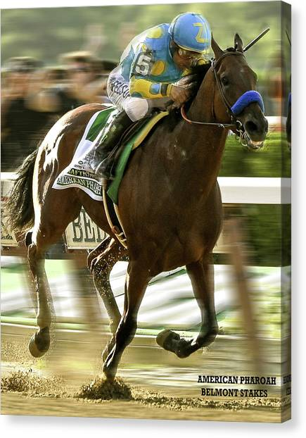 Derek Jeter Canvas Print - American Pharoah And Victory Espinoza Win The 2015 Belmont Stakes by Thomas Pollart