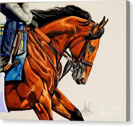 American Pharoah - Triple Crown Winner In White Canvas Print