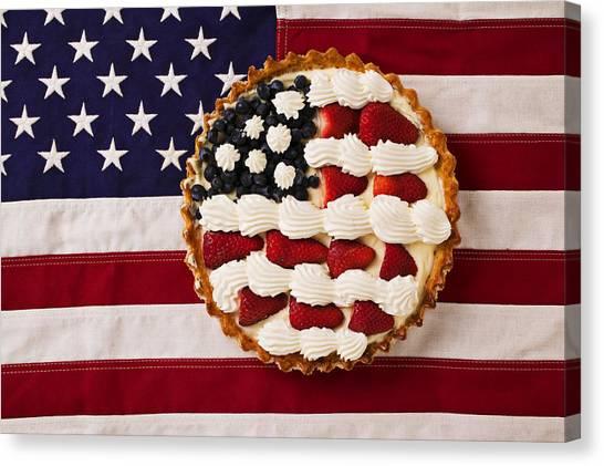 American Flag Canvas Print - American Pie On American Flag  by Garry Gay