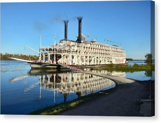 American Queen Steamboat Reflections On The Mississippi River Canvas Print