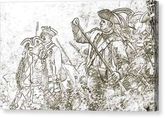 American Revolution Battle Sketch Canvas Print by Randy Steele
