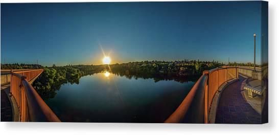 American River At Sunrise - Panorama Canvas Print