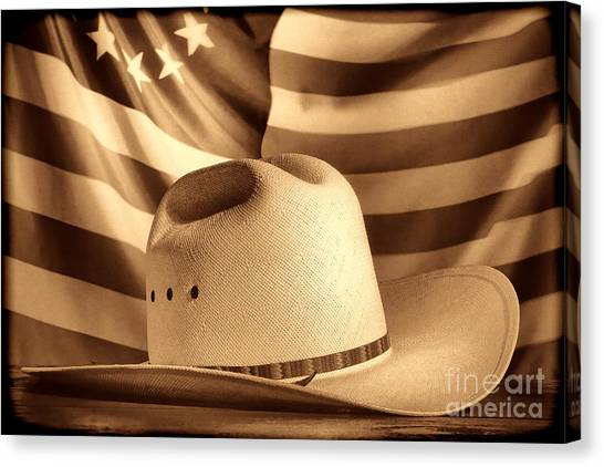American Rodeo Cowboy Hat Canvas Print