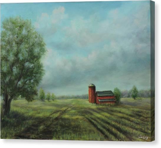 American Scene Red Barn  Canvas Print