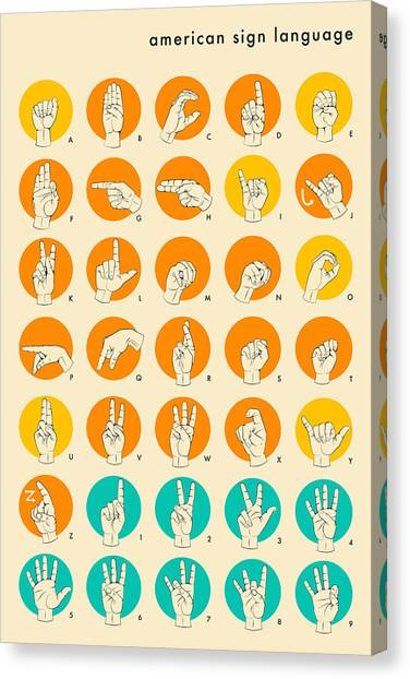 Sign Canvas Print - American Sign Language Hand Alphabet by Jazzberry Blue