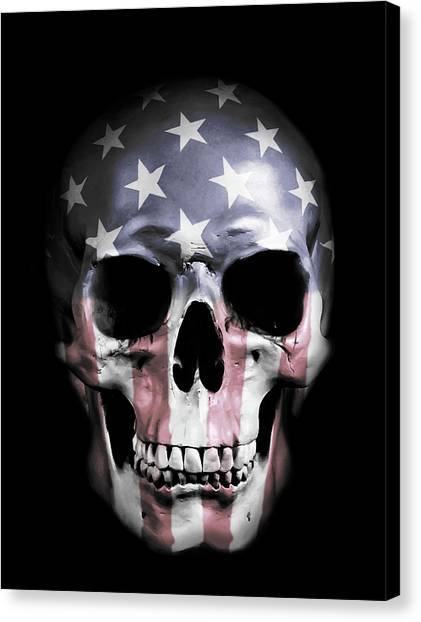 Stripes Canvas Print - American Skull by Nicklas Gustafsson