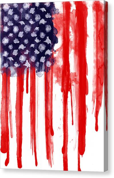 Watercolor Canvas Print - American Spatter Flag by Nicklas Gustafsson