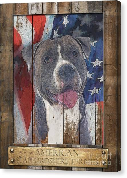 American Staffordshire Terrier Flag Poster 2 Canvas Print by Tim Wemple
