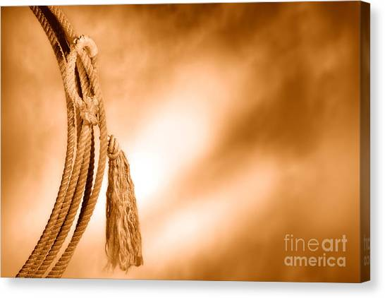 Lassos Canvas Print - American West Rodeo Cowboy Lariat - Sepia by Olivier Le Queinec