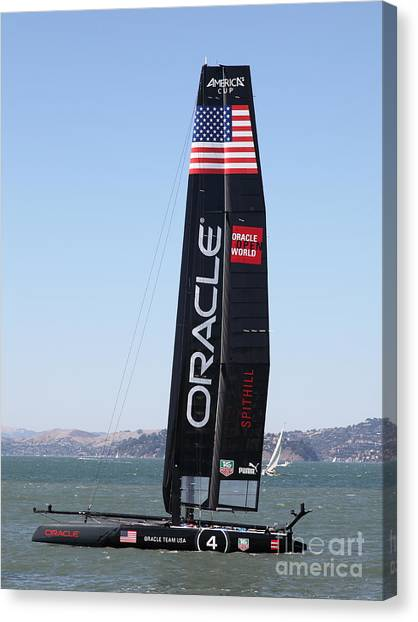 Canvas Print featuring the photograph America's Cup In San Francisco - Oracle Team Usa 4 - 5d18225 by Wingsdomain Art and Photography