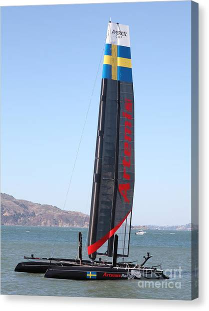 Sanfrancisco Canvas Print - America's Cup In San Francisco - Sweden Artemis Racing Red Sailboat - 5d18249 by Wingsdomain Art and Photography