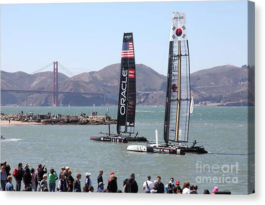 Catamarans Canvas Print - America's Cup Racing Sailboats In The San Francisco Bay - 5d18253 by Wingsdomain Art and Photography