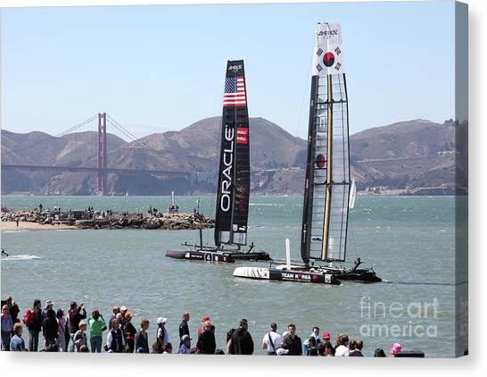 America's Cup Racing Sailboats In The San Francisco Bay 5d18253 Canvas Print