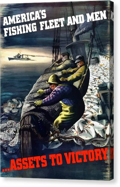 Fishing Canvas Print - America's Fishing Fleet And Men  by War Is Hell Store