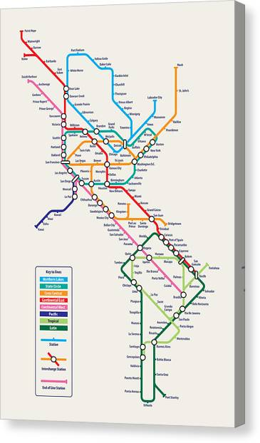 Subway Canvas Print - Americas Metro Map by Michael Tompsett