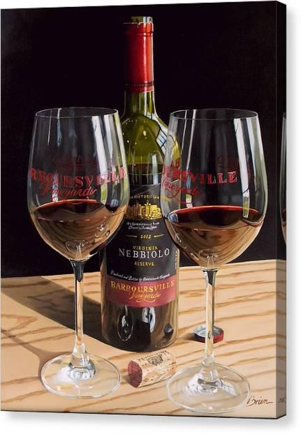 Wine Bottles Canvas Print - America's Nebbiolo by Brien Cole