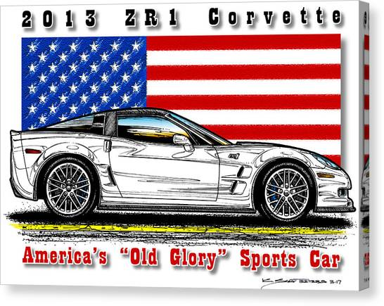America's Old Glory 2013 Zr1 Corvette Canvas Print