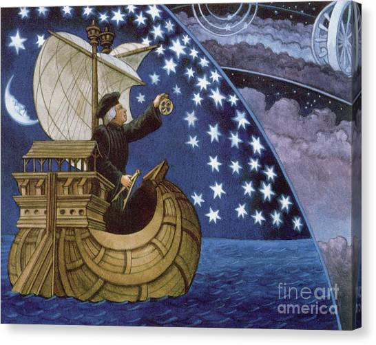 Celestial Canvas Print - Amerigo Vespucci Navigating By The Stars On His 3rd Voyage by French School