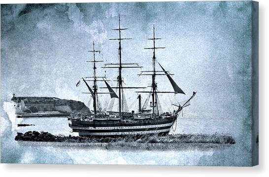 Amerigo Vespucci Sailboat In Blue Canvas Print