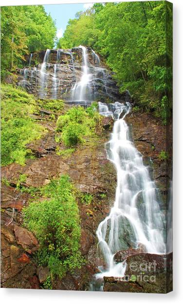 Tumbling Canvas Print - Amicalola Falls Georgia by Laura D Young