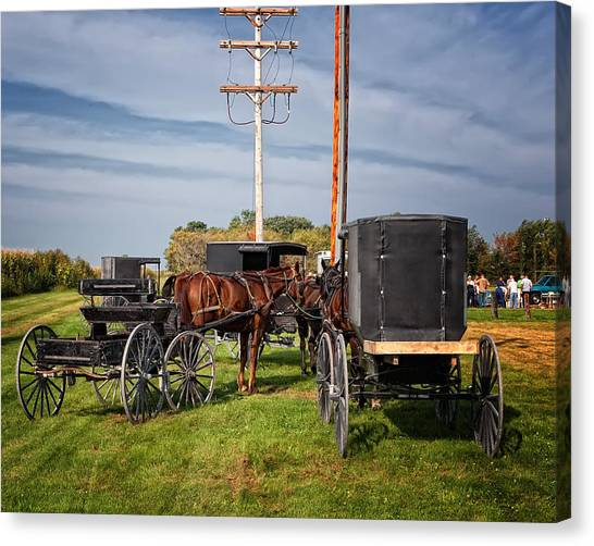 Amish At The Auction Canvas Print