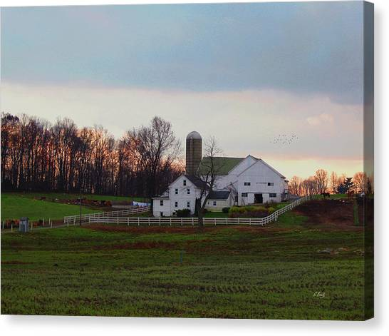 Amish Farm At Dusk Canvas Print by Gordon Beck