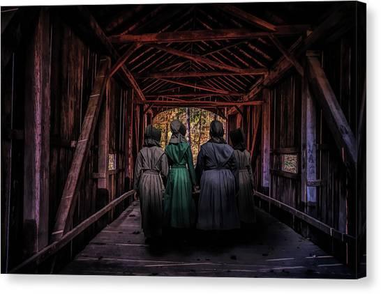 Amish Canvas Print - Amish Girls In Covered Bridge by Tom Mc Nemar