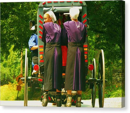 Rollerblading Canvas Print - Amish Girls On Roller Blades by Jeanette Oberholtzer