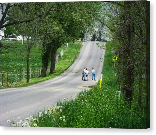Amish Roller Skating Canvas Print