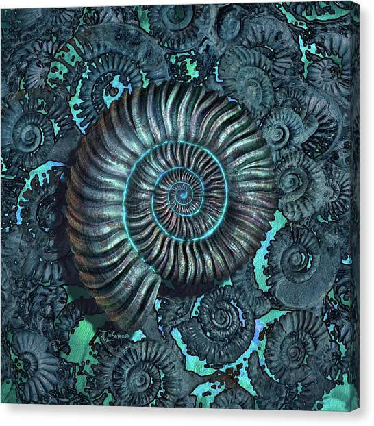 Prehistoric Canvas Print - Ammonite 3 by Jerry LoFaro